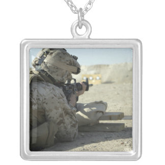 A Marine fires a M16A2 service rifle Silver Plated Necklace