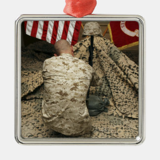 A marine kneels before the rifle square metal christmas ornament