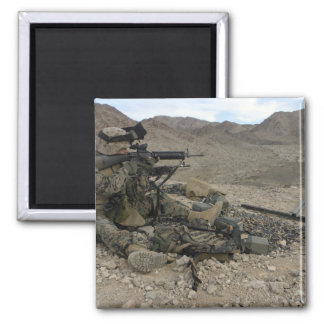 A Marine rifleman provides security 2 Inch Square Magnet