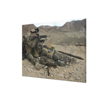 A Marine rifleman provides security Stretched Canvas Prints