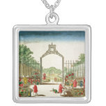 A Market Garden at One of the Gates of Paris Square Pendant Necklace