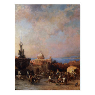 A Market in Naples by Franz Richard Unterberger Postcard
