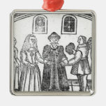 A Marriage Ceremony Square Metal Christmas Ornament