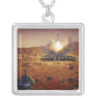 A Mars ascent vehicle Silver Plated Necklace