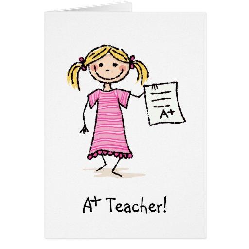 A más profesor le agradece cardar con el chica y l tarjeta de felicitación