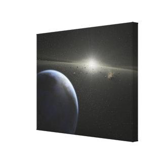 A massive asteroid belt in orbit around a star canvas print
