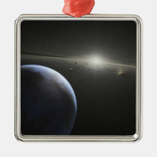 A massive asteroid belt in orbit around a star square metal christmas ornament