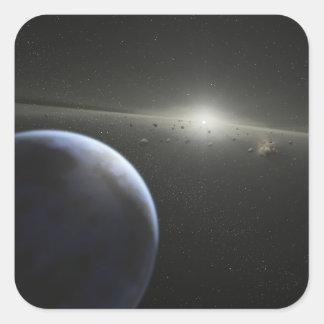 A massive asteroid belt in orbit around a star square sticker