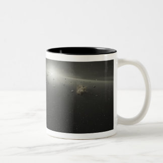 A massive asteroid belt in orbit around a star Two-Tone coffee mug