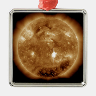 A massive X-class solar flare erupts on the Sun Metal Ornament