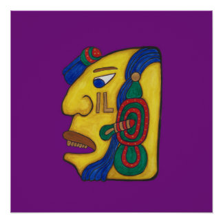 A MAYAN WOMAN CALLED HUN- DARK PURPLE BACKGROUND POSTER