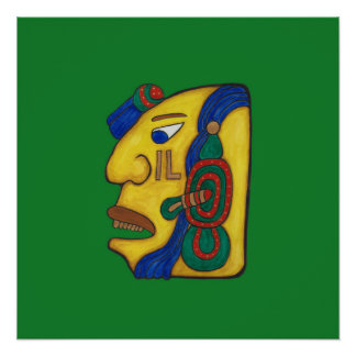 A MAYAN WOMAN CALLED HUN- GREEN BACKGROUND POSTER
