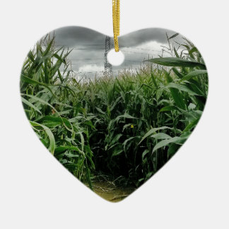 A maze of maize Double-Sided heart ceramic christmas ornament