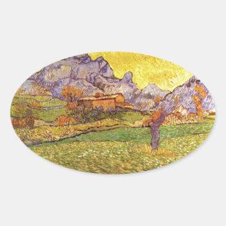 A Meadow In The Mountains Le Mas De St. Paul Oval Sticker