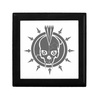 A mean punk rock, goth, vampire skull with spikes trinket boxes