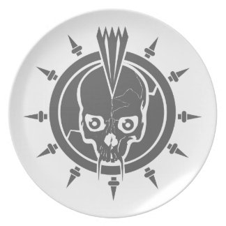 A mean punk rock, goth, vampire skull with spikes melamine plate