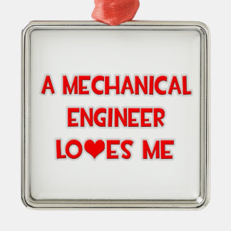 A Mechanical Engineer Loves Me Square Metal Christmas Ornament