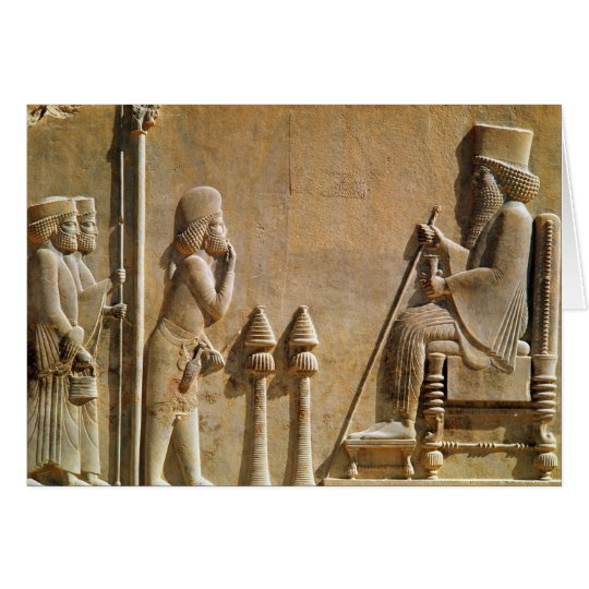 A Median officer paying homage to King Darius Card