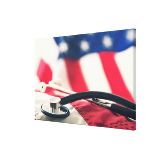 A medical stethoscope with a American flag Canvas Print