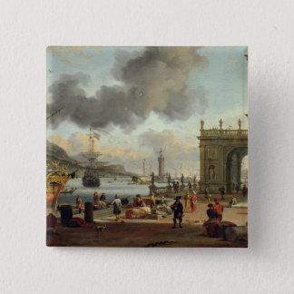 A Mediterranean Harbour Scene Pinback Button