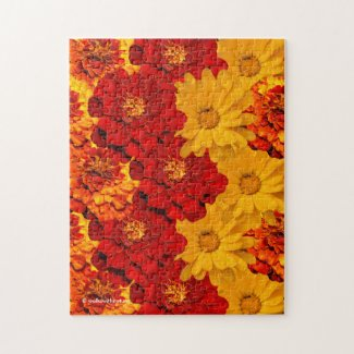 A Medley of Red Yellow and Orange Marigolds Jigsaw Puzzle