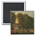 A Meeting in a Park 2 Inch Square Magnet