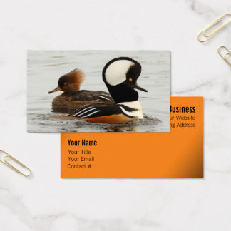 A Meeting of Hooded Mergansers Business Card
