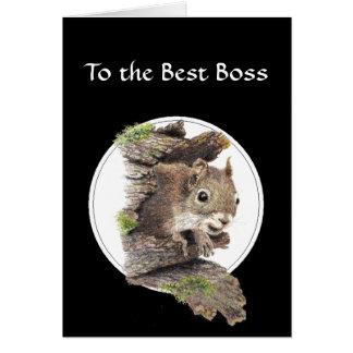 A mejor Boss, del manojo de nueces - ardilla Tarjeta De Felicitación