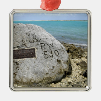 A memorial to prisoners of war on Wake Island Metal Ornament