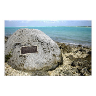 A memorial to prisoners of war on Wake Island Photographic Print