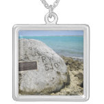 A memorial to prisoners of war on Wake Island Silver Plated Necklace