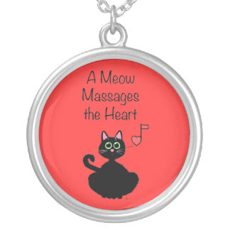 A Meow Massages the Heart Round Pendant Necklace