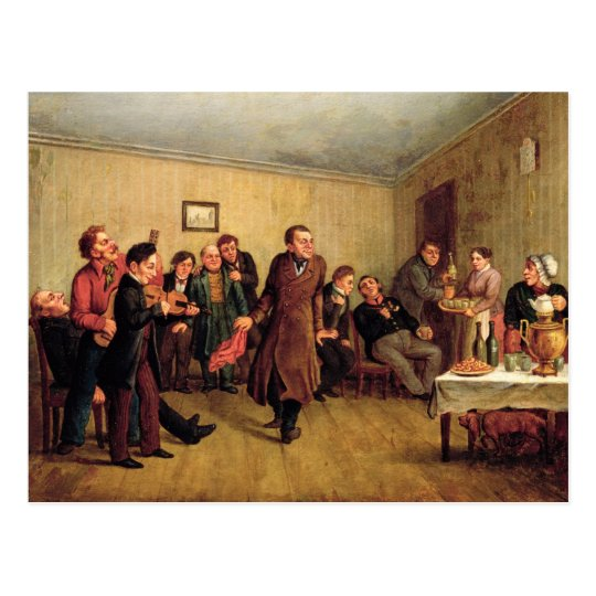 A merchant's evening party postcard