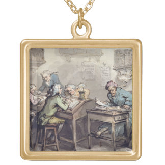 A Merchant's Office, 1789 (pen & ink and w/c over Personalized Necklace