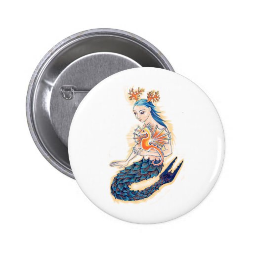 A Mermaid and her Sea Horse Pinback Button