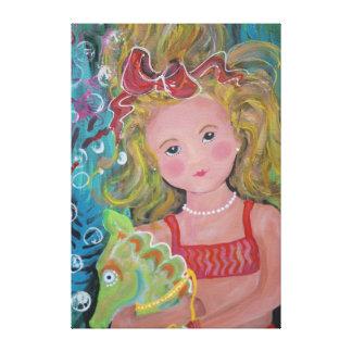 A Mermaid & her Pet Seahorse - Canvas