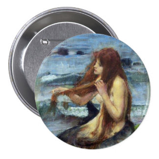 A Mermaid study Pinback Buttons