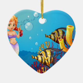 A mermaid watching the two fishes Double-Sided heart ceramic christmas ornament
