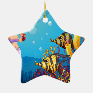 A mermaid watching the two fishes Double-Sided star ceramic christmas ornament