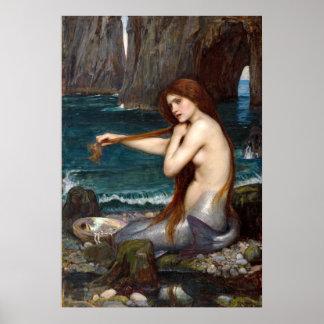 A Mermaid, Waterhouse Poster