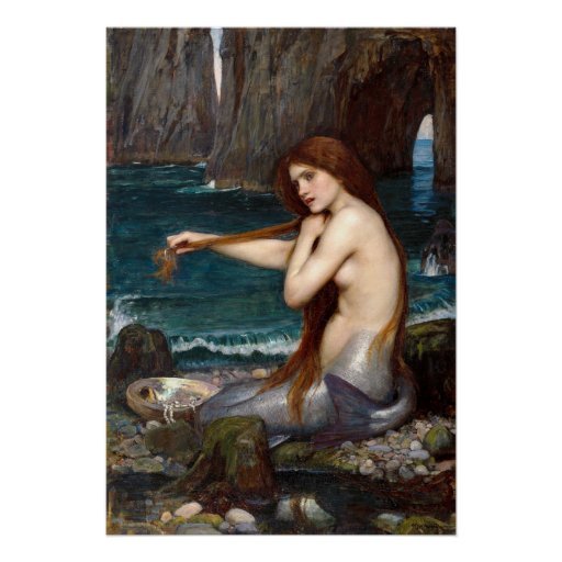A Mermaid, Waterhouse Poster