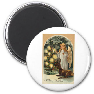 A Merry Christmas Angel 2 Inch Round Magnet