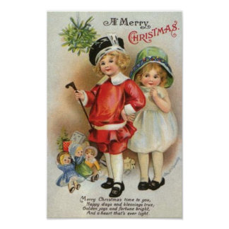 A Merry Christmas Boy and Girl Card Poster