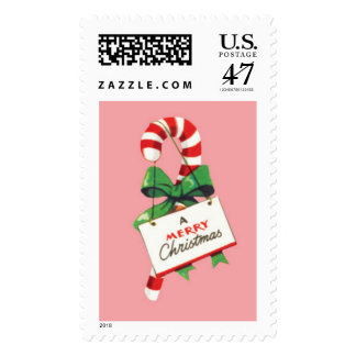 A Merry Christmas candy cane Postage