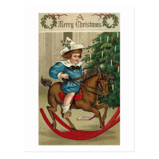 A Merry Christmas Child and Rocking Horse Postcards