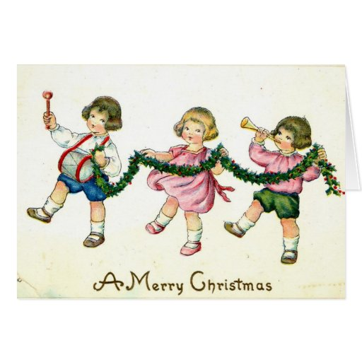 A Merry Christmas Children's Trio 1913 Vintage Cards