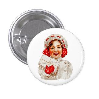 A Merry Christmas Girl Button