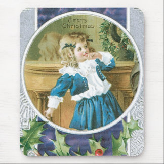 """""""A Merry Christmas"""" Girl in Blue Mouse Pad"""
