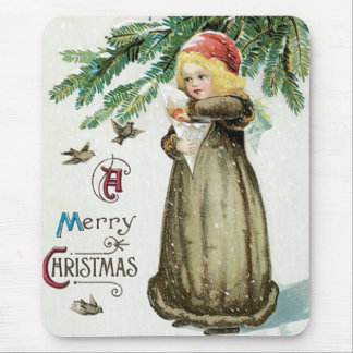 """A Merry Christmas"" Girl Mouse Pad"