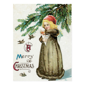 """A Merry Christmas"" Girl Postcard"
